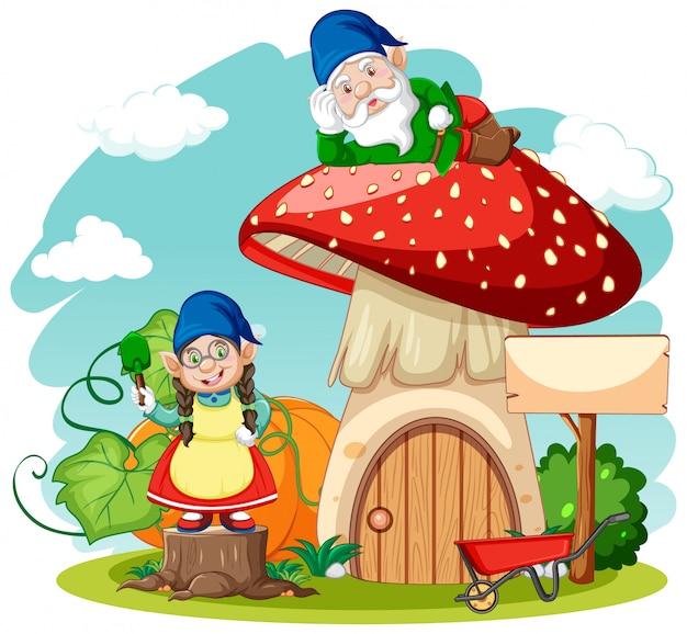 Gnomos e estilo cartoon de casa cogumelo em fundo branco Vetor Premium