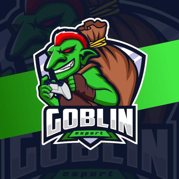 Goblin jogador mascote esport design de logotipo Vetor Premium