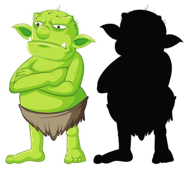 Goblin ou troll em cores e silhueta em personagem de desenho animado em branco Vetor grátis
