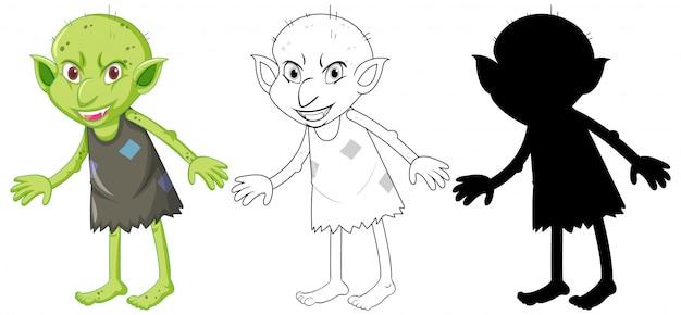 Goblin ou troll na cor e silhueta em personagem de desenho animado no fundo branco Vetor grátis