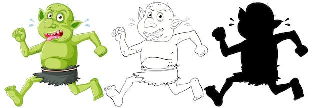 Goblin ou troll segurando a cor, o contorno e a silhueta de um personagem de desenho animado no fundo branco Vetor grátis