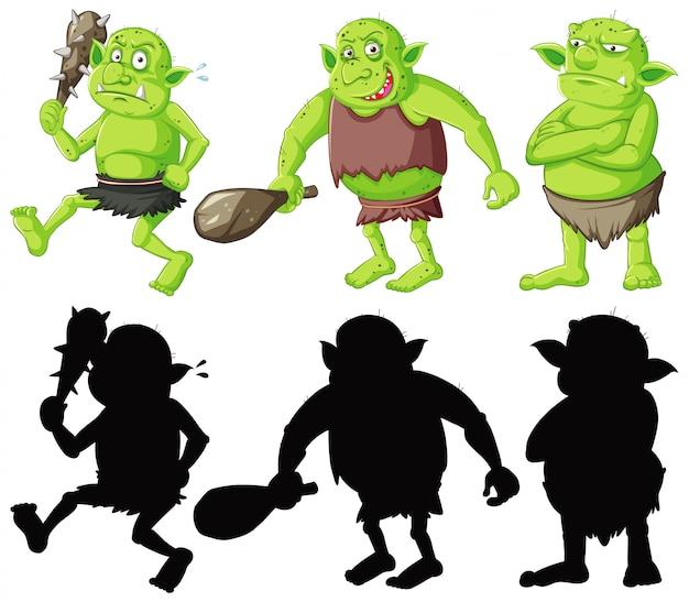 Goblin ou troll segurando a ferramenta de caça na cor e silhueta em personagem de desenho animado no fundo branco Vetor grátis