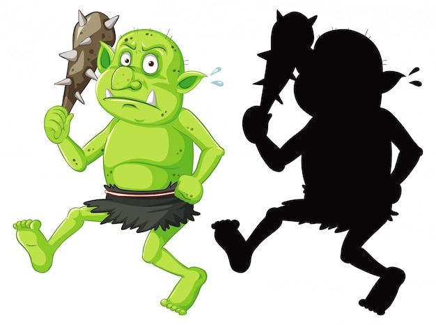 Goblin ou troll segurando uma ferramenta de caça em cores e silhueta em um personagem de desenho animado no fundo branco Vetor grátis