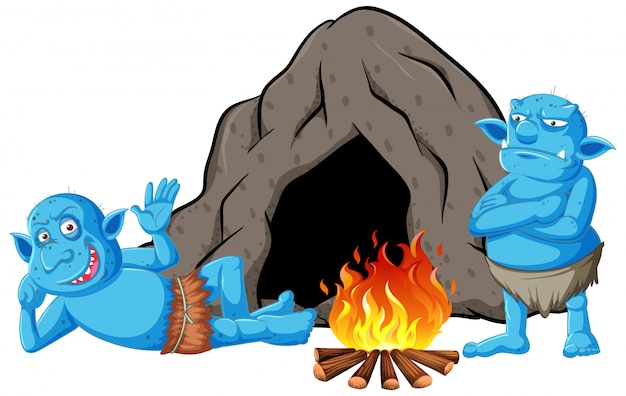 Goblins ou trolls com casa da caverna e fogueira em estilo cartoon isolado Vetor grátis