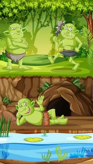 Goblins ou trolls com casa da floresta da caverna em estilo cartoon Vetor grátis
