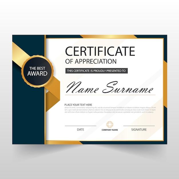 Gold Black ELegant certificado horizontal com ilustração do vetor Vetor grátis