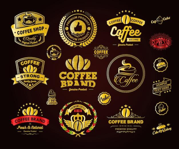 Golden coffee logos emblemas e rótulos elemento Vetor Premium
