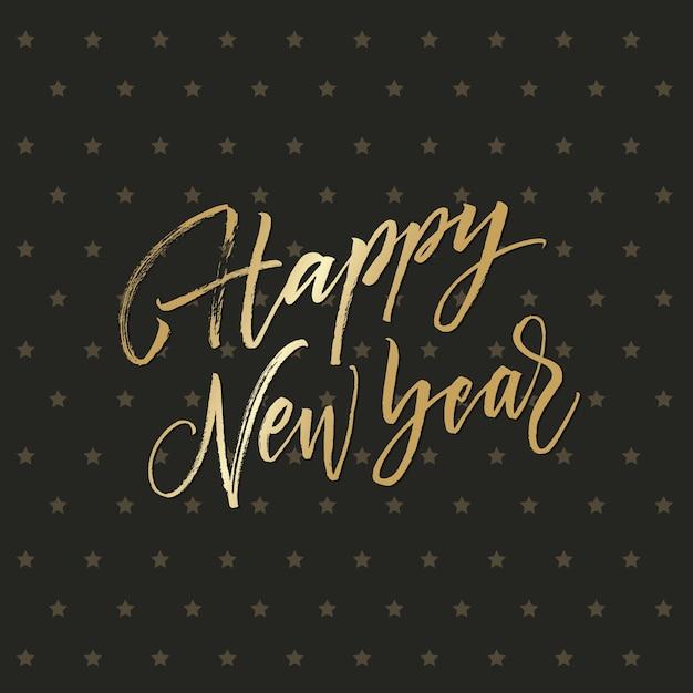 Golden feliz ano novo de fundo Vetor grátis