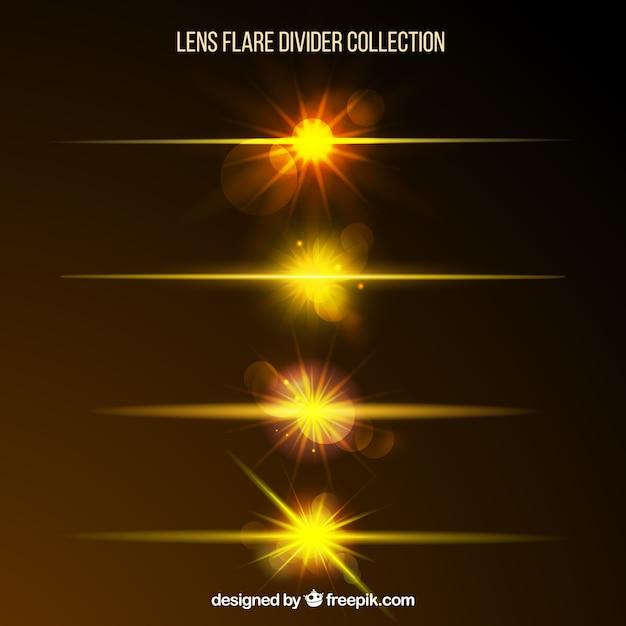 Golden lens flare divisor coleção Vetor grátis