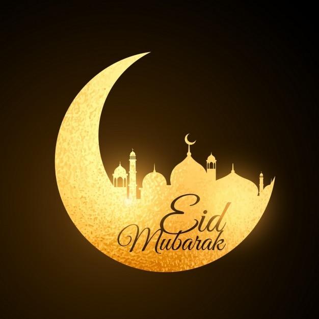 Golden Moon festival Eid com a mesquita Vetor grátis