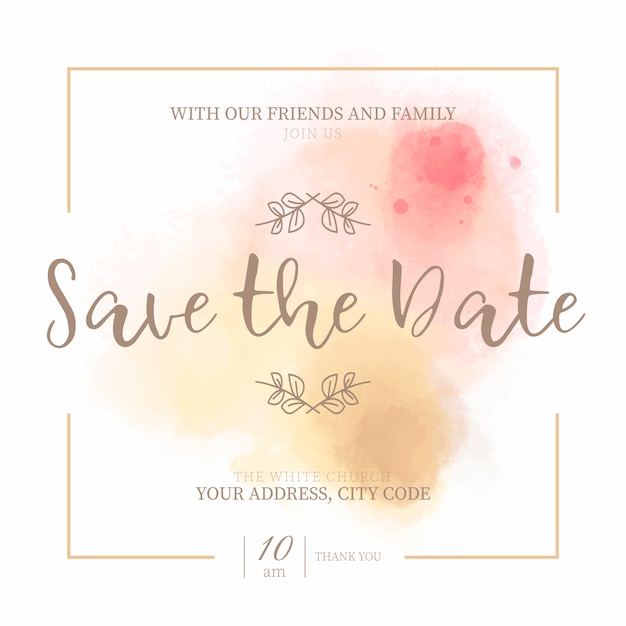 golden  u0026 pink save the date invitation