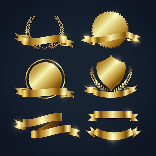 Golden ribbons coleção Vetor grátis