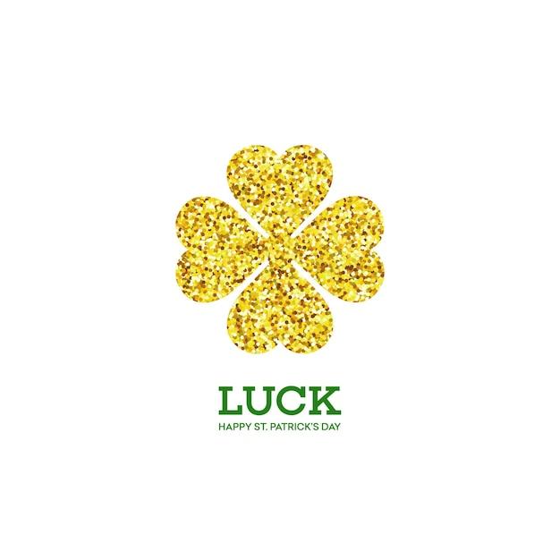Golden shamrock. patrick day simbol. ilustração Vetor Premium
