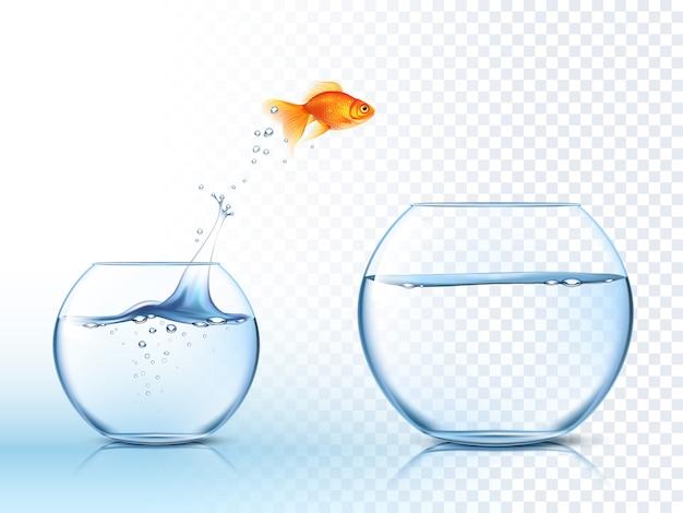 Goldish salta para fora da tigela de água Vetor grátis