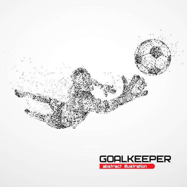 Goleiro de futebol abstrato pulando em círculos pretos. ilustração. Vetor Premium