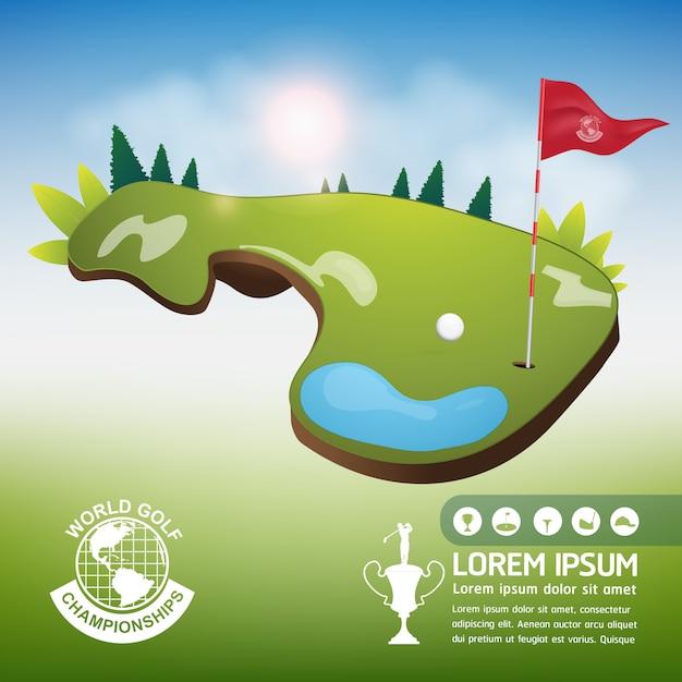 Golf ball vector concept golf mundial de torneio Vetor Premium