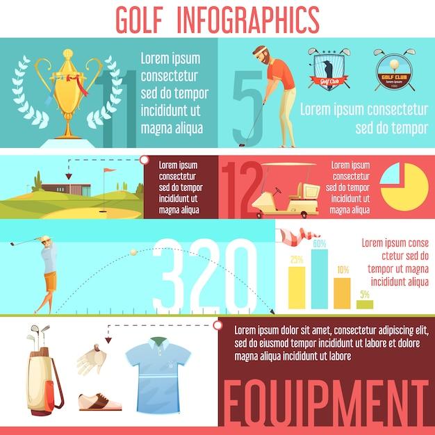 Golf esporte popularidade por país nas estatísticas do mundo e melhor infográfico de escolhas de equipamento Vetor grátis