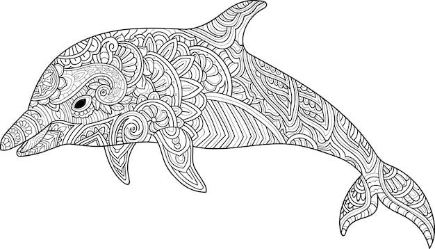 Golfinho de mão desenhada zentangle Vetor Premium
