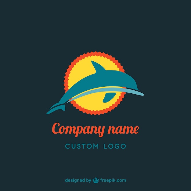 Golfinho design de logotipo livre Vetor grátis