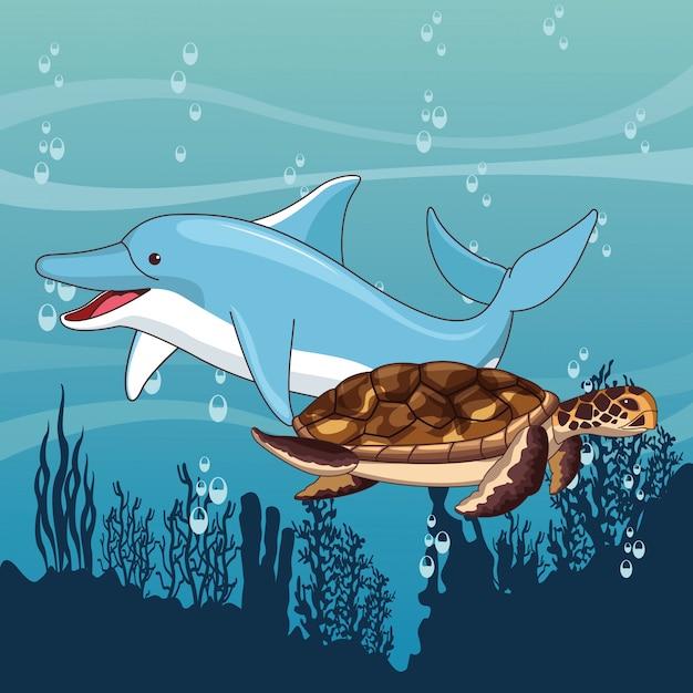 Golfinho e tartaruga nadando juntos Vetor grátis