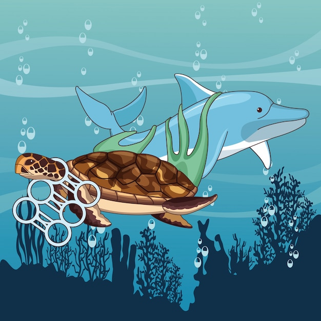 Golfinho triste e tartaruga preso Vetor grátis