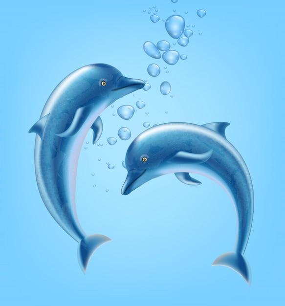 Golfinhos debaixo d'água Vetor Premium