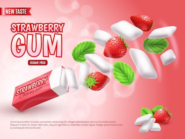 Goma de mascar com morango e folhas verdes na composição de publicidade gradiente vermelho turva realista Vetor grátis