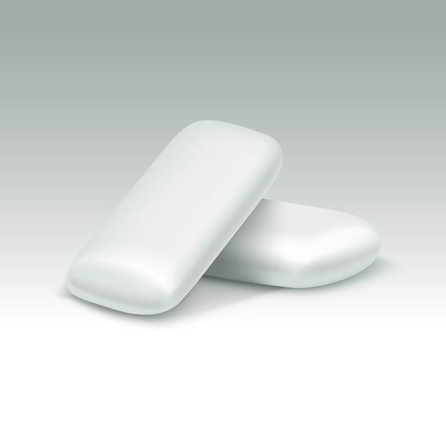 Goma de mascar em fundo branco Vetor Premium