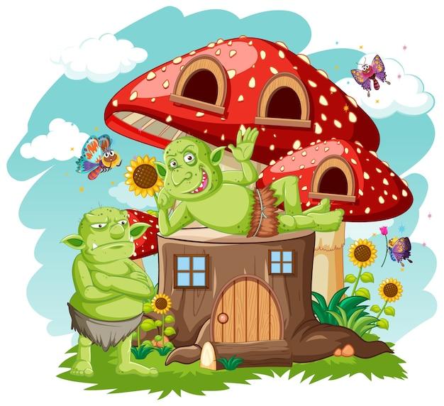 Gooblins ou trolls com toco e estilo de desenho animado de casa de cogumelo em branco Vetor grátis