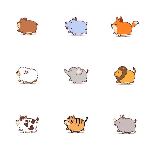 Gordo bonito animais dos desenhos animados ícone conjunto Vetor Premium