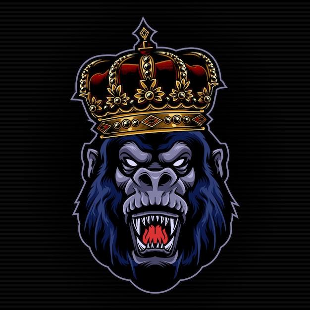 Gorila com ilustração da coroa do rei Vetor Premium