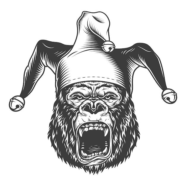 Gorila com raiva no estilo monocromático Vetor grátis