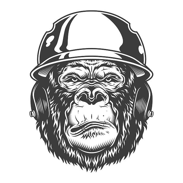 Gorila grave em estilo monocromático Vetor grátis