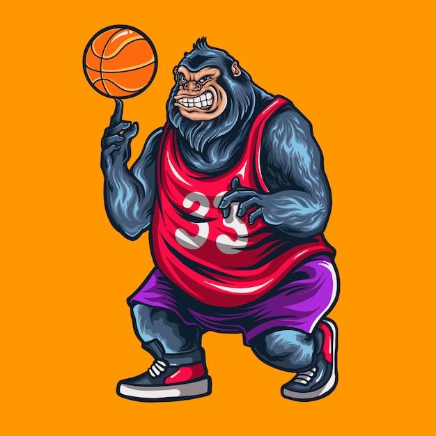 Gorila jogando ilustração de basquete Vetor Premium