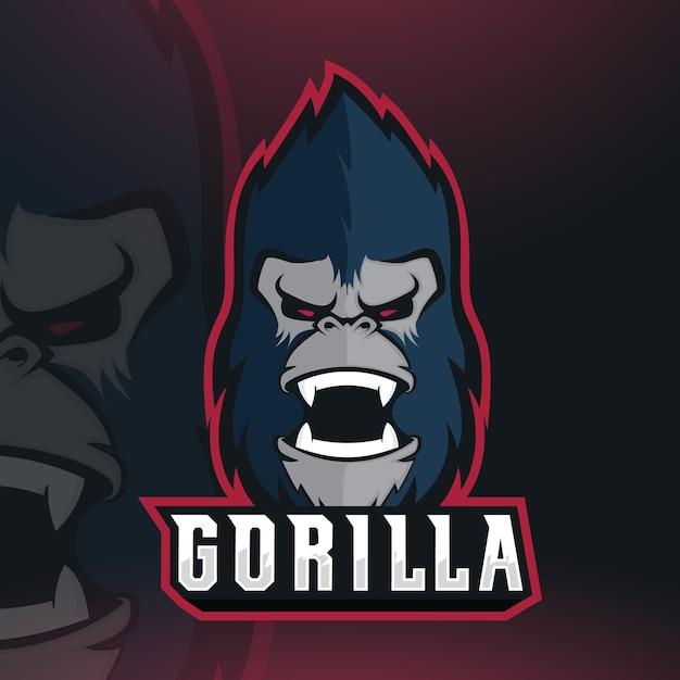 Gorilla esport mascote logo design vector Vetor Premium