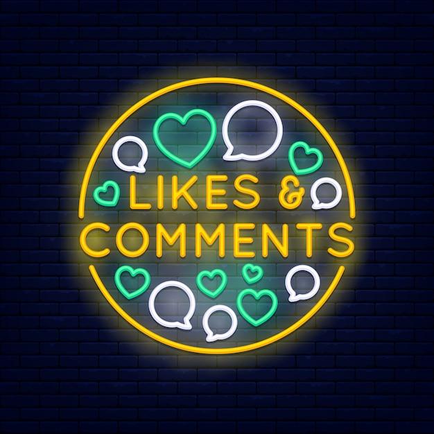 Gosta e comentários banner de néon colorido na parede de tijolo Vetor Premium