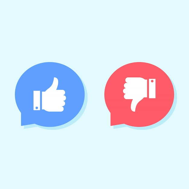 Gosta e não gosta de ícones, ícones de mídias sociais Vetor Premium
