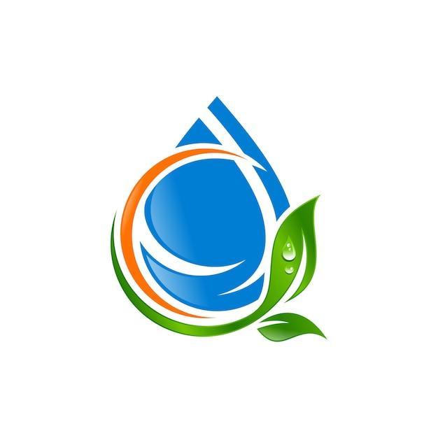 Gota d'água com vetor de logotipo de folha Vetor Premium