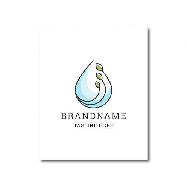 Gota d'água e modelo de design de ícone de logotipo de água natural de folha verde Vetor Premium