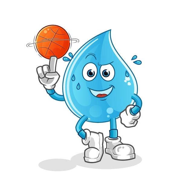 Gota d'água jogando mascote do basquete Vetor Premium