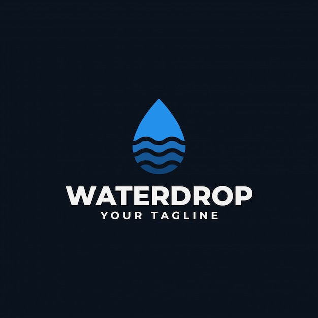 Gota de água abstrata simples com modelo de logotipo de onda Vetor Premium
