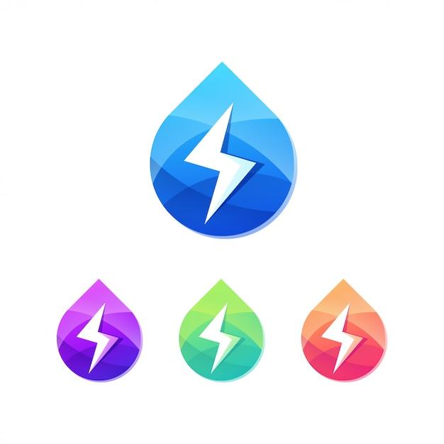 Gota de água com trovão parafuso botão logotipo conjunto Vetor Premium
