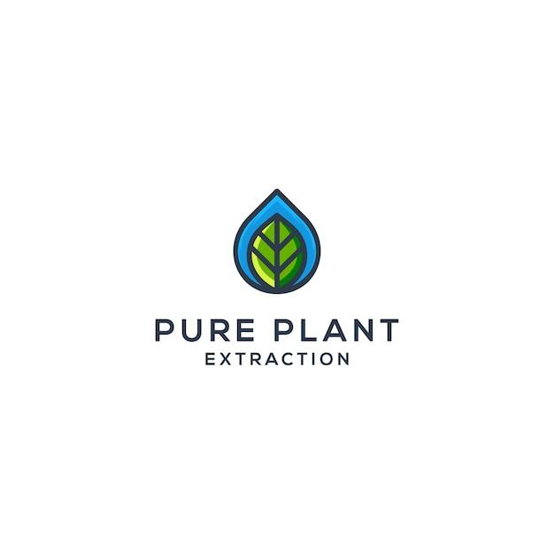 Gota de água e vetor de folhas, conceito de logotipo de óleo natural Vetor Premium