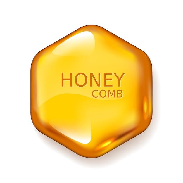Gota de mel realista. hexágono em fundo branco. cores globais Vetor Premium
