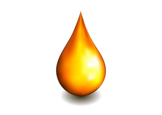 Gota de óleo isolada no branco. bolha de soro cosmético spa Vetor Premium