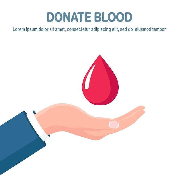 Gota de sangue vermelho na mão. doação, transfusão no conceito de laboratório de medicina. salvar a vida do paciente Vetor Premium