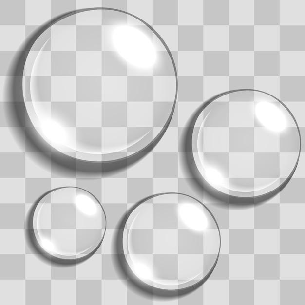 Gotas de água com fundo de transparência Vetor Premium