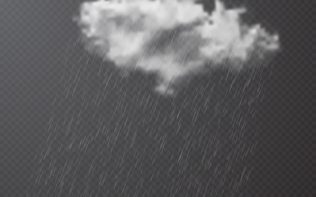 Gotas de chuva com nuvens em background transparente Vetor Premium