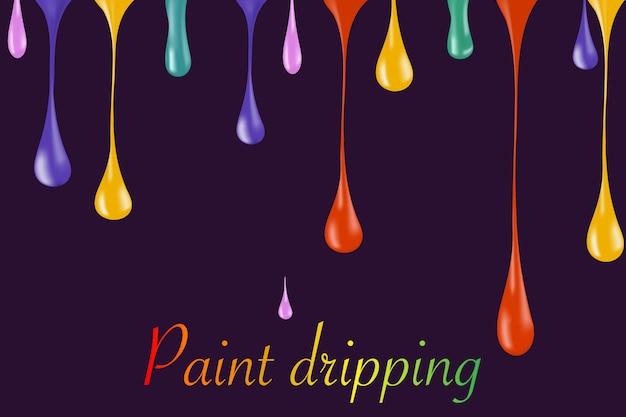 Gotas de tinta brilhante arco-íris em branco. ilustrador. gotas de esmalte. esmalte caindo gota. gotas de tinta caindo. gotas de tinta caindo. gotas caindo. Vetor Premium