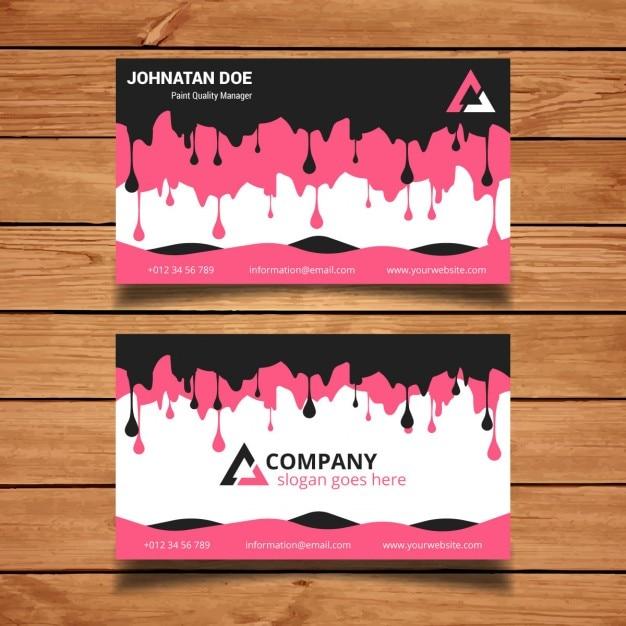 Gotejamento rosa e preto cartão de visita da pintura Vetor grátis